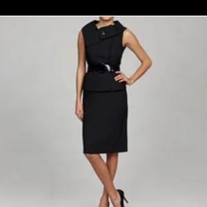 Tahari ASL Jacquard Sleeveless Skirt Suit w Belt